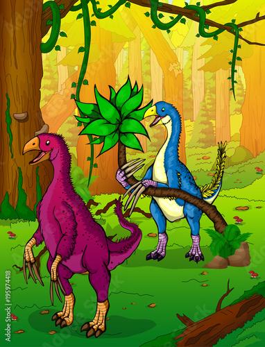 Fototapeta Therizinosaurus on the background of forest.