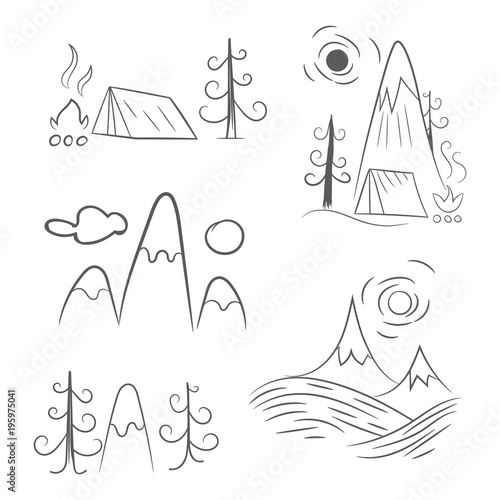 Deurstickers Wit Camping concept in flat linear design. Vector illustration