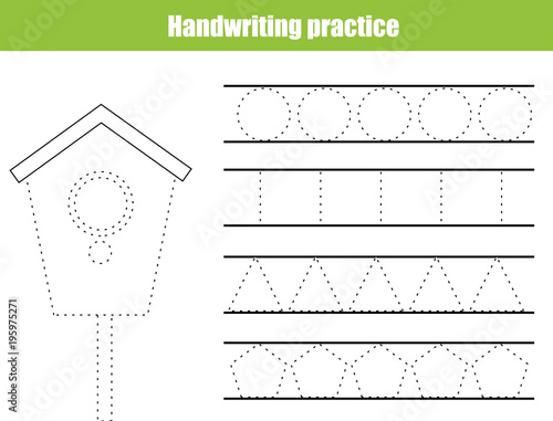 Fototapeta Handwriting practice sheet. Educational children game, printable worksheet for kids. Writing training printable worksheet. circles and polygonal shapes