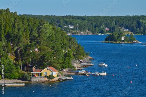 Keuken foto achterwand Stockholm Swedish settlements on islets of Stockholm Archipelago in Baltic Sea, Sweden