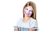 Portrait of teen girl with cat face painting - 195977657