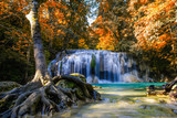 Erawan waterfall beautiful with in autumn of forest,Kanchanaburi Province, Thailand.