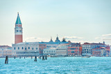 San Marco square with Bell tower in Venice, Italy. View from sea