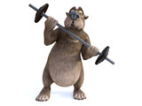 3D rendering of cartoon bear exercising with barbell.