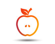 Apple sign icon. Fruit with leaf symbol. Blurred gradient design element. Vivid graphic flat icon. Vector