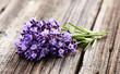 Lavender flowers on wooden board