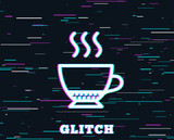 Glitch effect. Espresso coffee icon. Hot drink sign. Beverage symbol. Background with colored lines. Vector - 195985859
