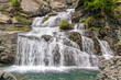 Lillaz waterfalls near Cogne, Gran Paradiso national park, Aosta Valley in the Alps, Italy
