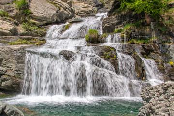 Lillaz waterfalls near Cogne, Gran Paradiso national park, Aosta Valley in the Alps, Italy