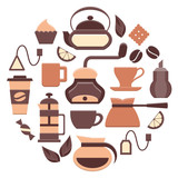 Coffee and tea icons set. Colored web elements. Flat style vector illustration. EPS10 - 195988293