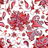 seamless pattern with  gray  and red flowers  - 195989096
