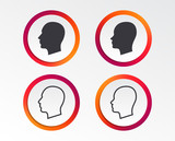 Head icons. Male and female human sign symbols. Infographic design buttons. Circle templates. Vector - 195989439