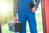 Repairman with toolbox, light effect