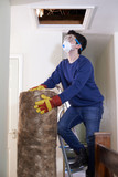 Man Climbing Into Loft To Insulate House Roof - 195993425