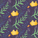 Dark blue night floral seamless pattern with hand drawn orange flowers, leaves, waterdrops. Cute contrast doodle botancal texture for textile, wrapping paper, print design, background, surface