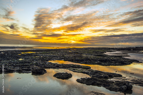 Aluminium Strand Sunrise at Bexhill-on-Sea in East Sussex, England