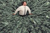 Businessman swallowed by a black hole of money. Concept of failure and economic crisis - 195996800