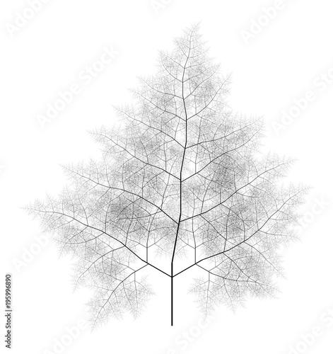 Flat  Computer Generated Self-Similar L-system Branching Tree Fractal  - Generative Art - 195996890
