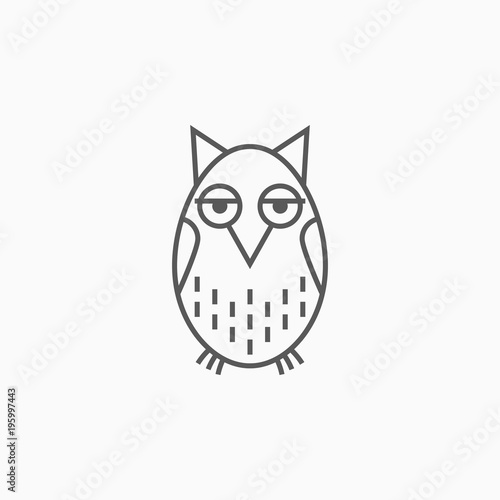 Tuinposter Uilen cartoon owl icon, bird vector