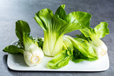 Fresh raw baby Bok choy or pak choi Chinese cabbage - 195997626