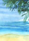 Real watercolor sketchy coastline with green palm trees. Hand drawn landscape background. - 195997671