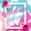 Welcome Spring Themed Pastel Coloured Background. Spring time floral flat lay minimalism greeting card.