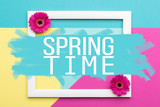 Welcome Spring Themed Pastel Coloured Background. Spring time floral flat lay minimalism greeting card. - 196002212