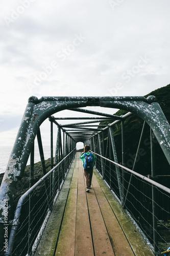 Sydney Travel girl going through bridge between small islands