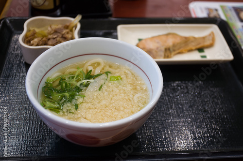 Staande foto Tokio Soup from noodles , salmon (salted) and beef.