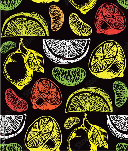 Fototapeta Hand drawn doodle citrus pattern