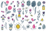 Vector collection of hand drawn floral nature and spring elements