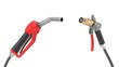 red fuel nozzle and gas pump nozzle. 3d illustration