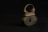 An ancient pendant castle of the 18th century on a black background, one ancient object of Russian origin - 196007652