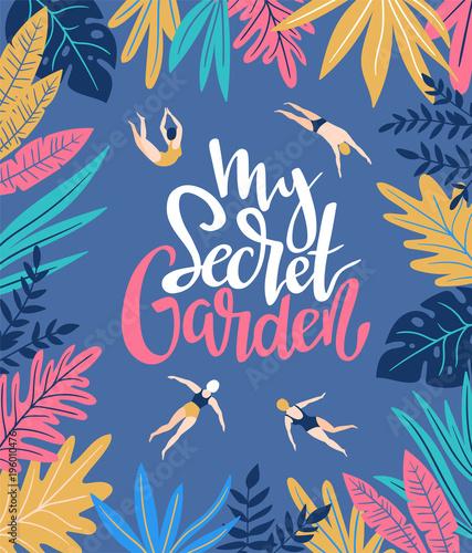 tlo-wakacje-wektor-w-stylu-skandynawskim-z-tropikalnych-lisci-i-plywakow-recznie-rysowane-plakat-z-napisem-moj-tajemniczy-ogrod