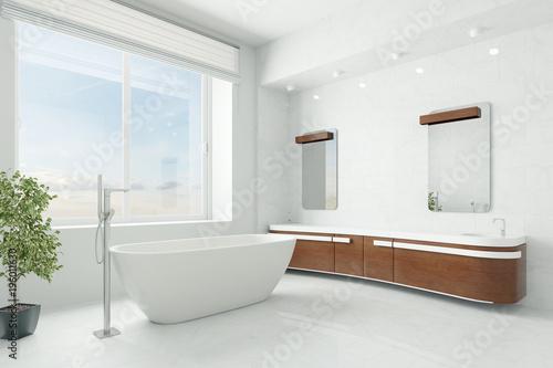 Foto op Plexiglas Hoogte schaal Luxuriöses Badezimmer mit Badewanne