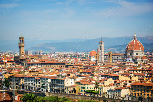 Fotobehang Florence Aerial view of Florence with the Basilica Santa Maria del Fiore (Duomo), Tuscany, Italy