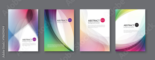 Set of abstract vector backgrounds with line waves.Vector illustration. - 196014044
