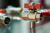 fittings and valve, pipes and adapters. Plumbing fixtures and piping parts