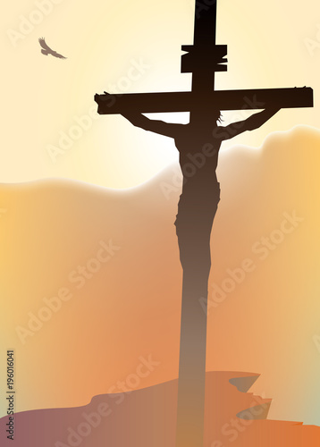 Tuinposter Beige Vector landscape on religious theme with mount Calvary and a silhouette of a cross with crucified Jesus Christ at sunset. Banner for Easter or good Friday