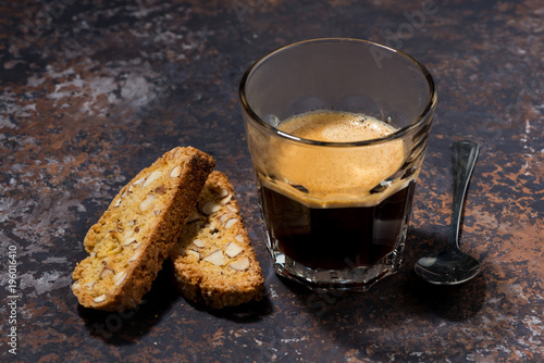 Poster espresso and Italian cookies cantucci