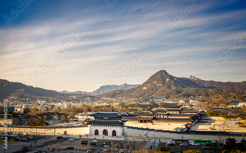 Foto op Canvas Seoel Aerial view of Gyeongbok palace and the Blue House in Seoul city, Korea