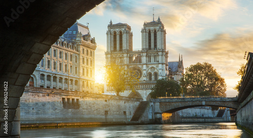 Fridge magnet Notre dame de Paris and Seine river in Paris, France
