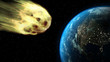 3d illustration asteroid near to impact to the Earth - 196024861
