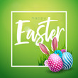 Vector Illustration of Happy Easter Holiday with Painted Egg, Rabbit Ears and Flower on Shiny Green Background. International Celebration Design with Typography for Greeting Card, Party Invitation or