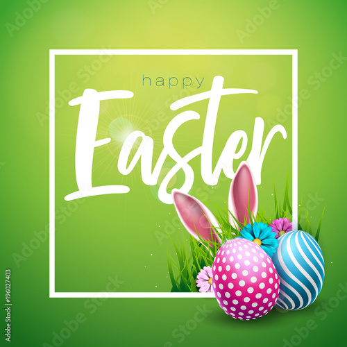 Fridge magnet Vector Illustration of Happy Easter Holiday with Painted Egg, Rabbit Ears and Flower on Shiny Green Background. International Celebration Design with Typography for Greeting Card, Party Invitation or