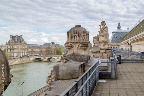 The Louvre museum, view from the top of the Musee d'Orsay Poster