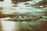 Amazing aerial view of Palm Jumeirah Island in Dubai from helicopter against sunset sky - 196029229