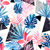 Modern art illustration with tropical leaves, grunge, marbling textures, doodles, geometric, minimal elements. - 196031818