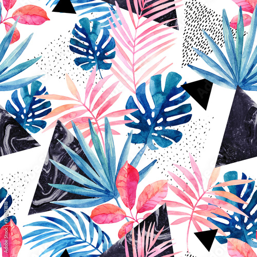 Modern art illustration with tropical leaves, grunge, marbling textures, doodles, geometric, minimal elements. © Tanya Syrytsyna