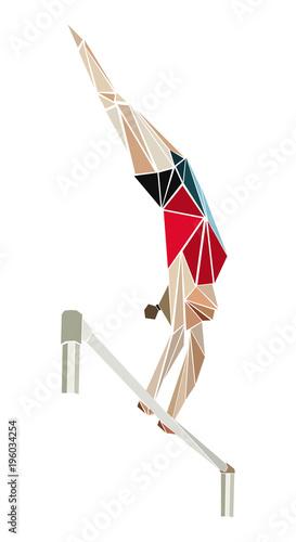 Fototapeta artistic gymnastics female gymnast in uneven bars